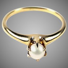 Victorian Claw Set Pearl 14k gold Ring