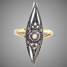 Antique Rose Cut Diamond Silver Topped Gold Marquise Ring