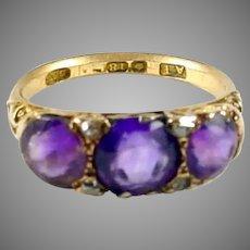 English Amethyst Diamond 18 Karat Gold Dress Ring--Hallmarks