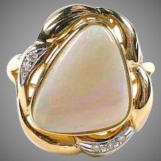 Modernist Australian White Opal Diamond 14k Gold Ring