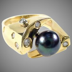 Whimsical Axle Grey Pearl Diamond 14k Gold Ring-Modernist