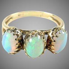 Vibrant Vintage 3-Opal Gold Ring