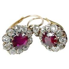 Edwardian OEC Diamond Synthetic Ruby Gold Halo Earrings