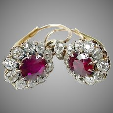 Edwardian OEC Diamond Synthetic Ruby Gold Halo Earrings