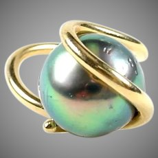 Modernist 14k Designer Abstract Large Black Tahitian Pearl Ring--11 mm