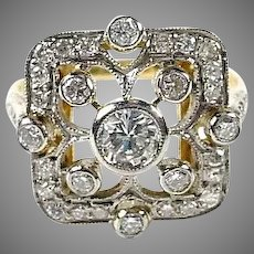 Art Deco Diamond 18k Gold Dinner Ring