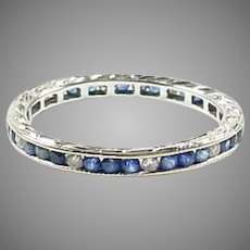 Sweet Art Deco Engraved Sapphire Diamond 18k Gold Eternity Band Ring