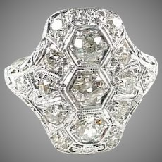 Stunning Art Deco White Gold Diamond Dinner Ring