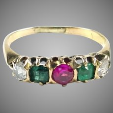 Victorian Diamond Emerald Gemstone 14k Gold Ring