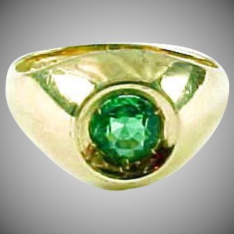 VVS Very Fine Emerald 14k Yellow Gold Ring-With Appraisal