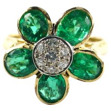 VS Emerald Diamond 14k Yellow Gold Flower Ring--Appraisal