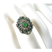 Georgian Silver Topped Emerald 18k Gold ring