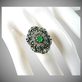 Georgian Silver Topped Emerald 18k Gold ring