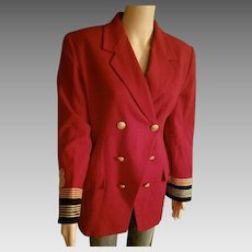 TRENDING NOW: Vintage 90s Red band/military Long Fitted Blazer jacket coat - 1990s