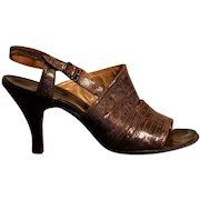 COLLECTORS! Vintage 40s/1940s LIZAGATOR lizard alligator Slingback Sandal HEELS Shoes  -  6N