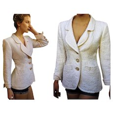 Vintage ysl YVES SAINT LAURENT 80s Military Quilted Ivory Blazer Coat/Jacket - 1980s Couture