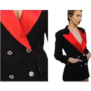 Iconic Vintage ESCADA W. Germany TUXEDO Tux Jacket/Blazer/Coat - Wool/Silk/RHINESTONES