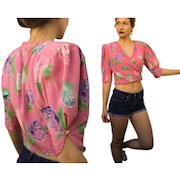 "Vintage 80s UNGARO ""PARALLELE PARIS' Silk Wrap Blouse Top - Iconic 1980s Crop Silhouette"
