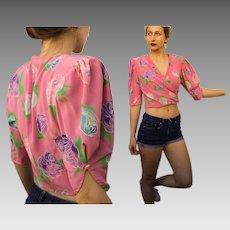 """Vintage 80s UNGARO """"PARALLELE PARIS' Silk Wrap Blouse Top - Iconic 1980s Crop Silhouette"""