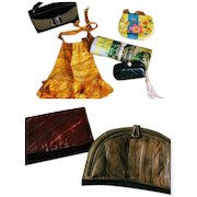 LOT OF 7 Vintage 1950s - 1980s PURSES Eel Skin, Kelly, hippie, Clutch Bags, Magazine