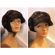 Sweden/Swedish TRUE VINTAGE Mod 60s MINK FUR Helmet Hat  - w/Optional Ear Muffs!