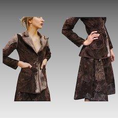 """Vintage 90s ROBERTO CAVALLI RUNWAY """"Western Revival"""" Velveteen & Leather skirt jacket Suit - 1990s"""