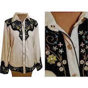 Vintage 80s/1980s SCULLY Embroidred/RHINESTONE/Pearl Snap Button WESTERN Shirt Top Blouse