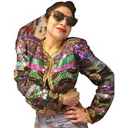 Vintage 80s SCALA Silk Heavily Beaded Sequin trophy DECO evening Jacket - 1980s