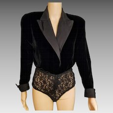 Vintage DONNA KARAN NY black Velvet/Silk/Lace Bodysuit Top Jacket - 1980s/1990s