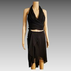 Vintage TADASHI 90s sheer mesh 2pc Dress HALTER/SKIRT - 1990s Body Con