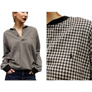 Vintage POLO RALPH LAUREN 80s Houndstooth Pullover shirt/top - 1980s Rare Version Unisex/Mens/Womens