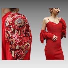 Vintage 80s DELLA ROUFOGALI COUTURE Siren Red Cocktail Dress/Sequin Jacket - 1980s Avant garde