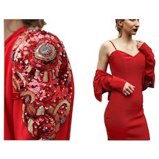 ******* VINTAGE SALE ****** 80s DELLA ROUFOGALI Couture Siren Red Cocktail Dress/Sequin Jacket - 1980s Avant garde