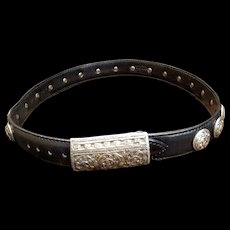 Vintage $625 J&M DAVIDSON Black Leather/German SILVER Western Belt - Extra Small