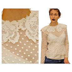 """Vintage 2 Piece: 80s PEGGY JENNINGS Swiss Dot """"Victorian Revival"""" Blouse/SILK Cami Top - 1980s"""