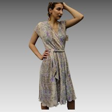 UNUSED VINTAGE 70s/1970s Faux Wrap Spring Garden Party PLEATED Designer Dress