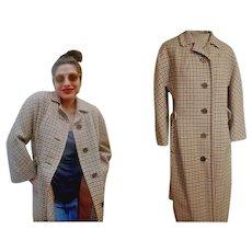 Rare Vintage 70s AQUASCUTUM for HARRODS Herringbone Wool/CLOCK Buttons Womens Coat - sz Large - Red Tag Sale Item