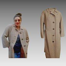 Rare Vintage 70s AQUASCUTUM for HARRODS Herringbone Wool/CLOCK Buttons Womens Coat - sz Large