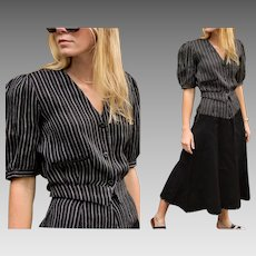 "Vintage 80s does 30s KRIZIA Made in Italy ""DEPRESSION-ERA Revival"" 2pc Pinstripe Blouse/Top & Skirt Set - 1980s (Extra Small)"