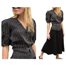 """Vintage 80s does 30s KRIZIA Made in Italy """"DEPRESSION-ERA Revival"""" 2pc Pinstripe Blouse/Top & Skirt Set - 1980s (Extra Small)"""