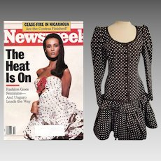 "1500.00 Vintage UNGARO ""Parallele Paris"" AVANT GARDE polka dot Silk Cocktail Dress - sz Small"