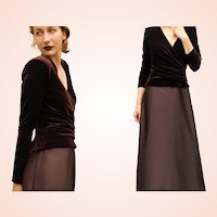 VINTAGE & Sought-After 90s TADASHI Chocolate Velvet/Satin GOWN Dress 6/S