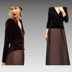 VINTAGE & Sought-After 90s TADASHI Chocolate Velvet/Satin GOWN Dress 6/S