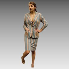 Vintage 70s BILL BLASS Candy Stripe EMBROIDERED jacket/skirt Suit - 1970s Couture