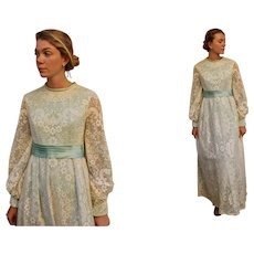 MINT Condition: Vintage 60s EMMA DOMB Satin & Lace Maxi Wedding hippie boho Dress - 1960s