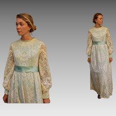 MINT Condition: Vintage 60s EMMA DOMB Satin & Lace Maxi Wedding hippie boho Dress - 1960s