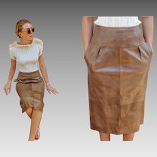 "ICONIC, Rare Vintage 80s/1980s ANNE KLEIN ""Lion Tag"" Natural Weathered leather midi Skirt"