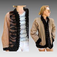 Vintage FRANCE/KOREA Avant Garde 80s Sheared RABBIT Fur Coat/Jacket - 1980s