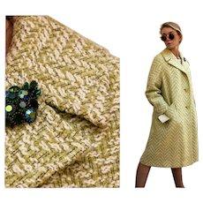 UNUSED Vintage: 60s BETTY ROSE Iconic Mod Green Chevron Wool Boucle Coat - 1960s Lg/Xl