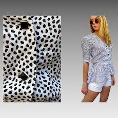 EXCLUSIVE Vintage 80s GIVENCHY NOUVELLE blk/white Graphic Peplum blouse top - 1980s Avant Garde